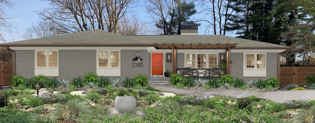 Virtual exterior of a brick ranch painted in Chelsea Gray with a statement orange front door