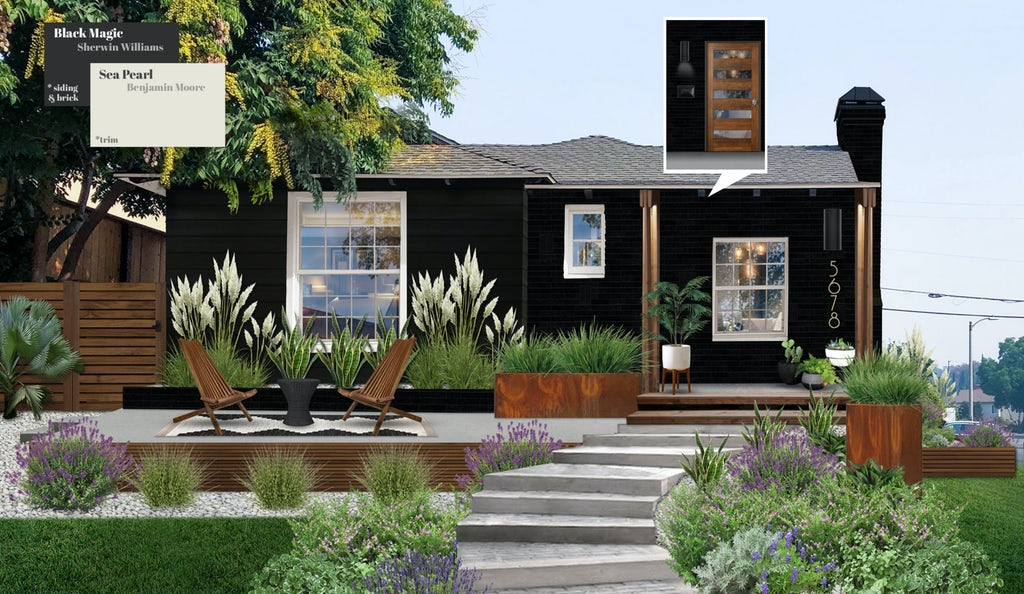 Sherwin Williams Black Magic paint color on home siding, California modern style home