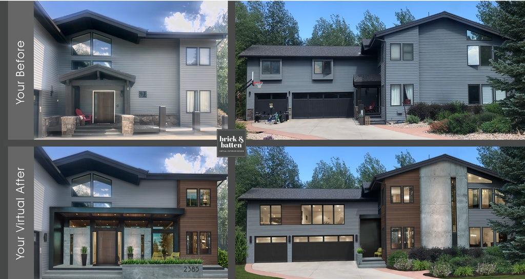 Before and after of a contemporary home with updated cladding, a new porch awning, and wood accents