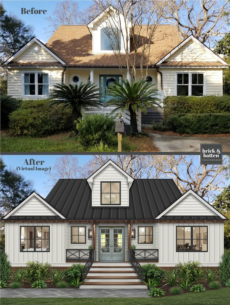 Before and after of a home given the farmhouse look