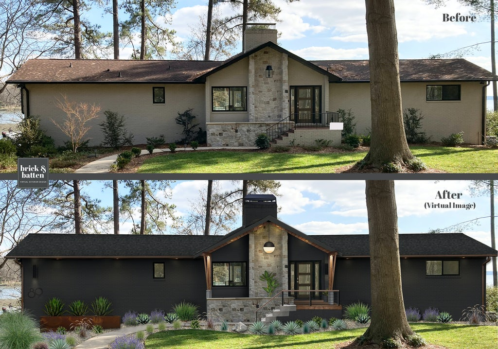 Before and after of a rustic lakeside home given a modern look with a dark paint job