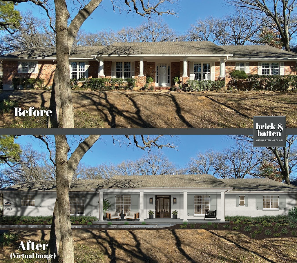 Before and after of a brick ranch painted in a monochromatic white
