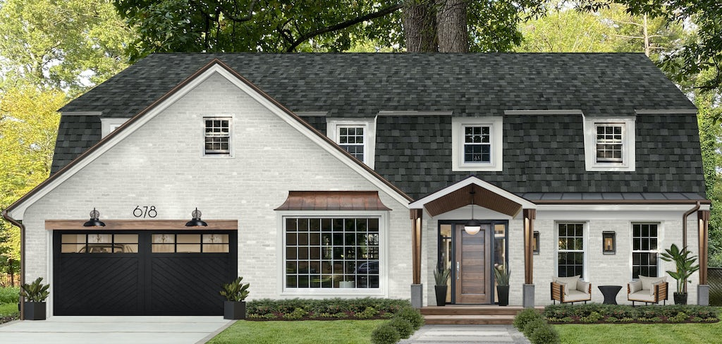 Virtual exterior home design of a brick home painted in SeaPearl and Simply White with block, copper, and natural wood accents