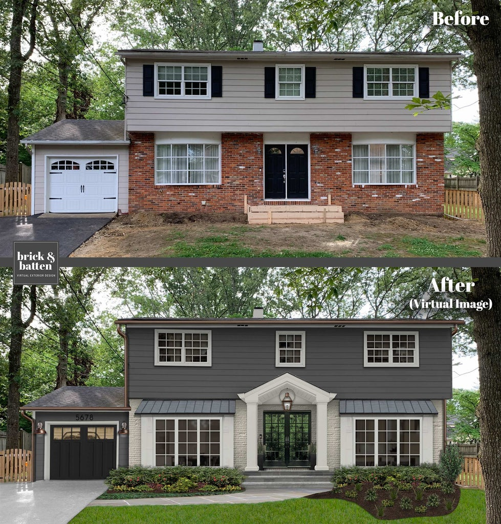 Before and after of a transitional home painted in Iron Mountain and Light Pewter with Jet Black accents. New front porch awning and double front doors.