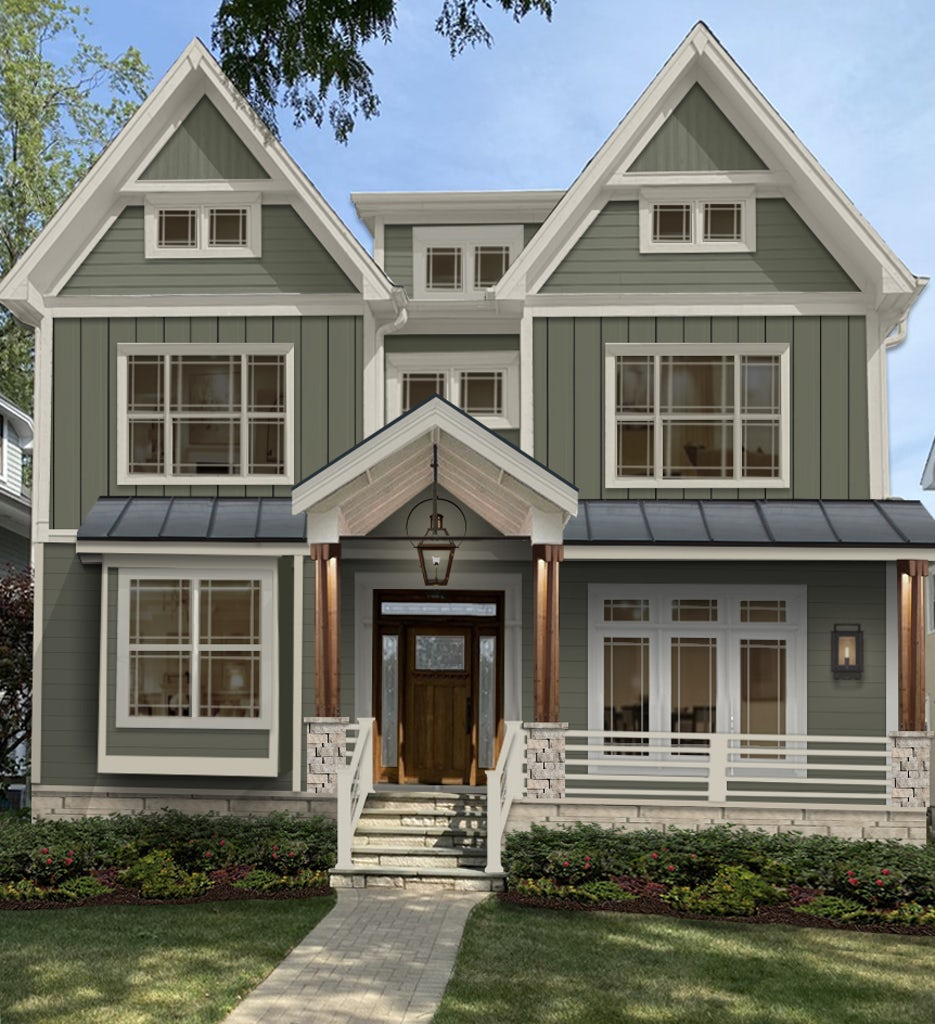 large victorian virtual rendering with sage green paint, large porch and craftsman style windows