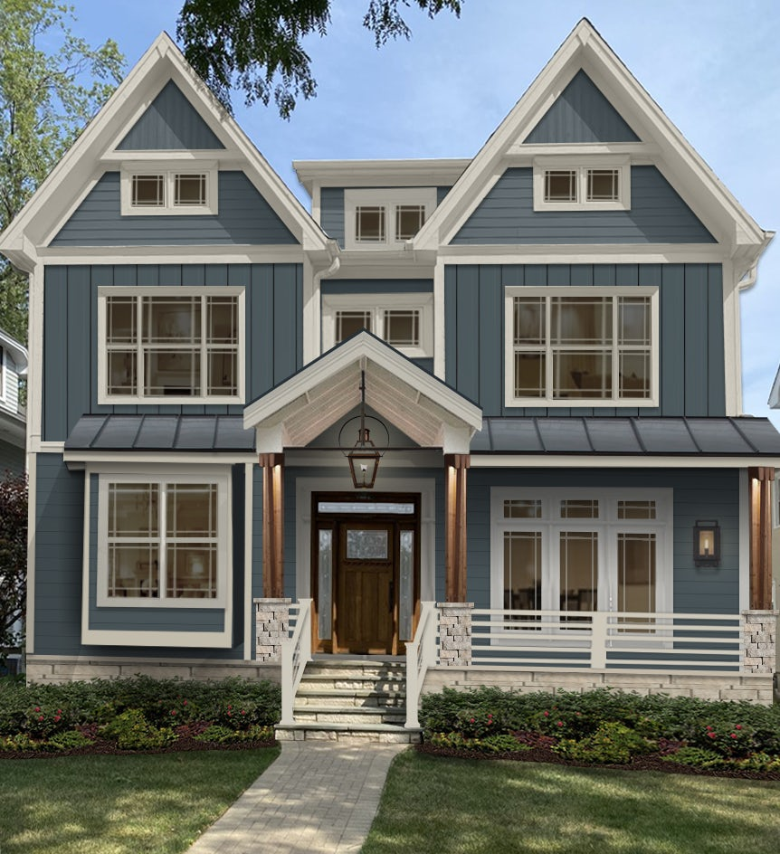 Virtual exterior design of a Victorian home with new James Hardie Evening Blue cladding