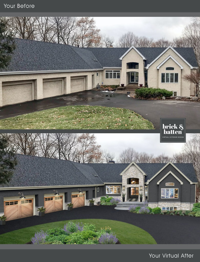 Before and after of a transitional home with brick painted in Iron Mountain, a charcoal paint color, with new stone accents and new garage doors