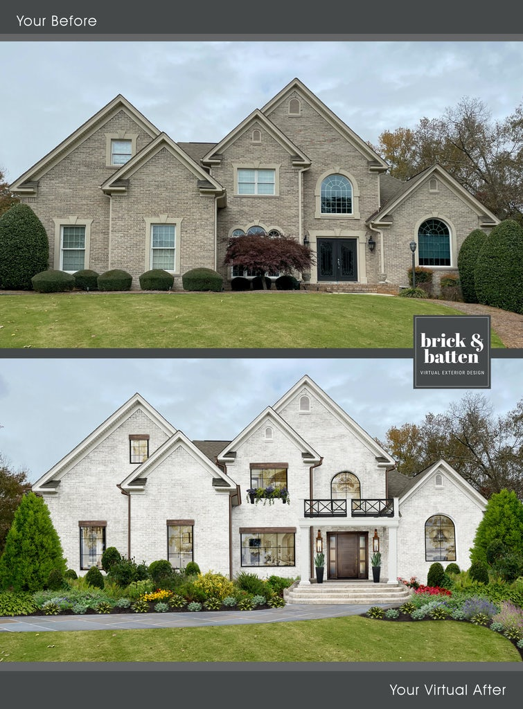 Before and after of a traditional two-story brick home painted with limewash