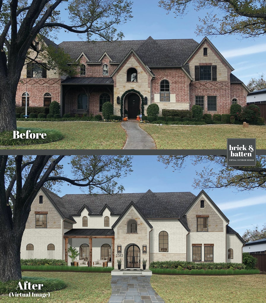Before and after of a traditional Old English style home with painted brick in the Studio McGee style