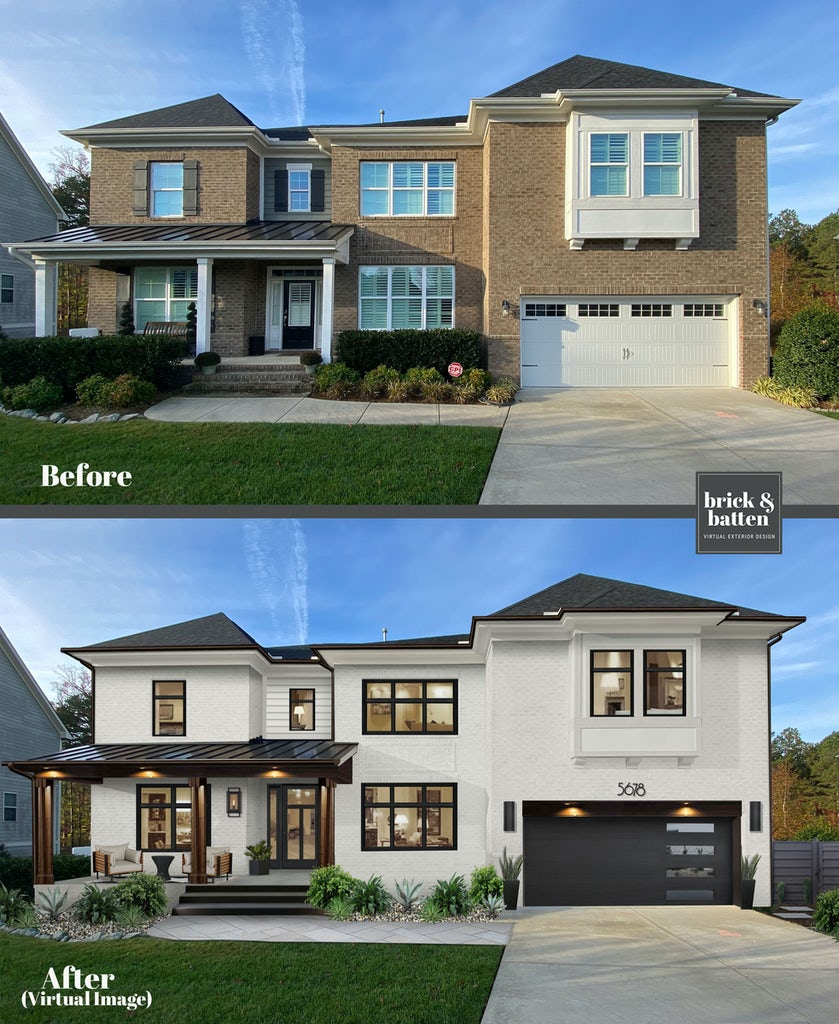 Before and after of a traditional brick home painted white with dark accents for a modernized look
