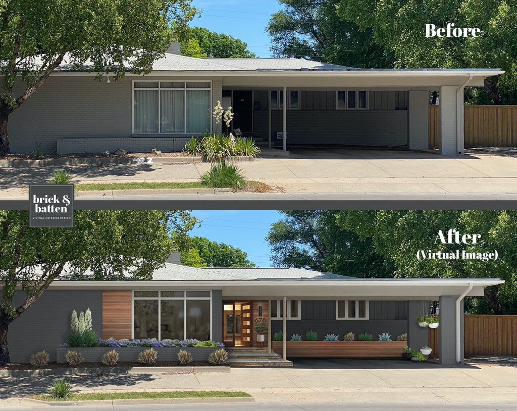 Before and after of a mid-century modern ranch home with a carport. The after features the home painted in a soft gray and wood accents added.