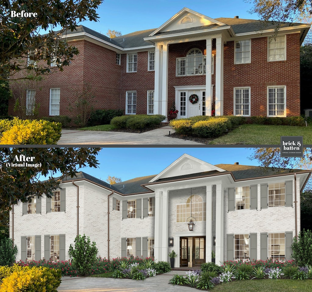 traditional two story brick home with center columns limewash brick before and after