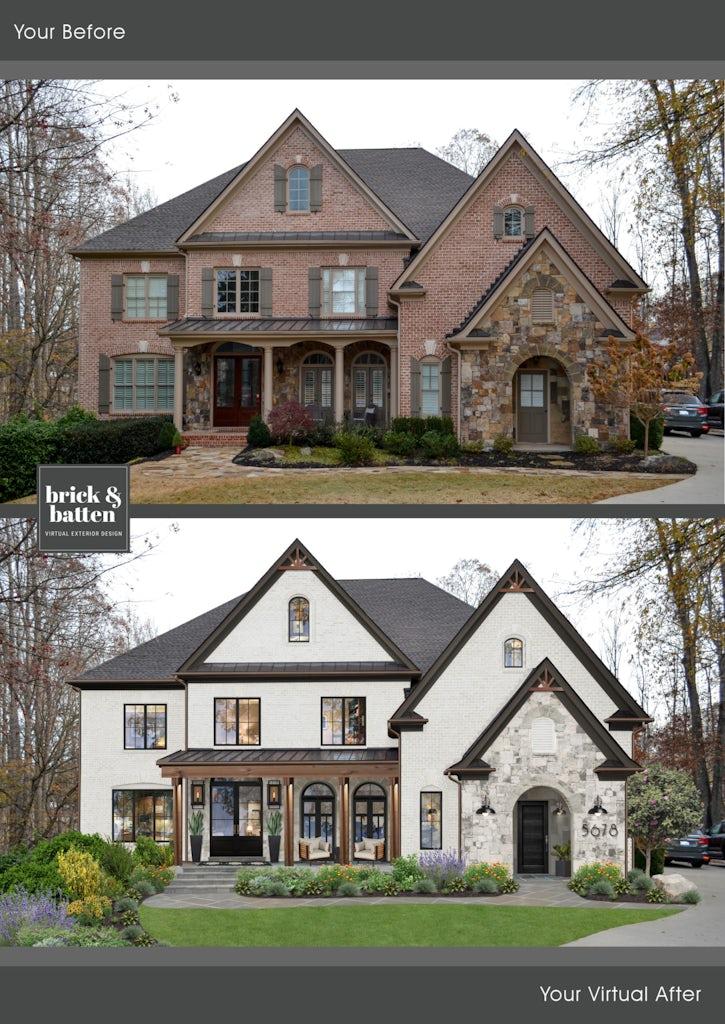Modern two story brick home with sharp angular roofline and limewash brick and stone