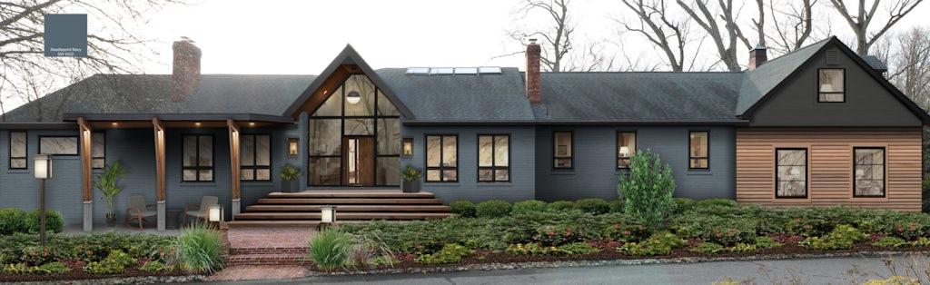 Home exterior design using Sherwin Williams Needlepoint Navy
