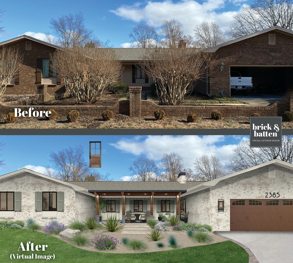brick ranch with limewash before and after