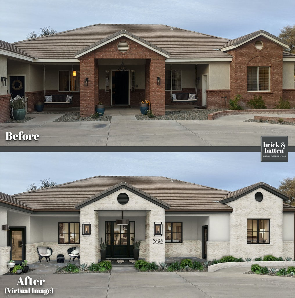 Southwestern style ranch with limewash brick before and after