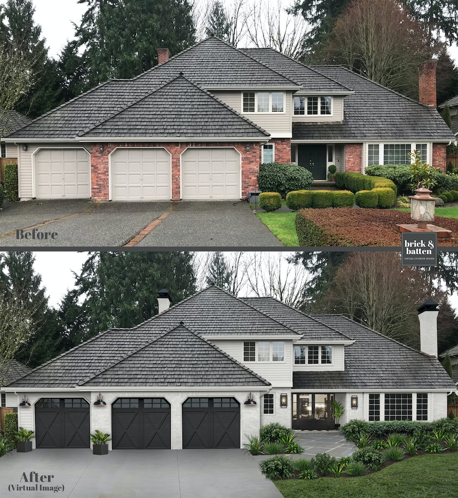 Before and after of a traditional brick two home with cladding and a three-stall front-loading garage. The after image features the brick and siding painted in Alabaster with Tricorn Black accents.