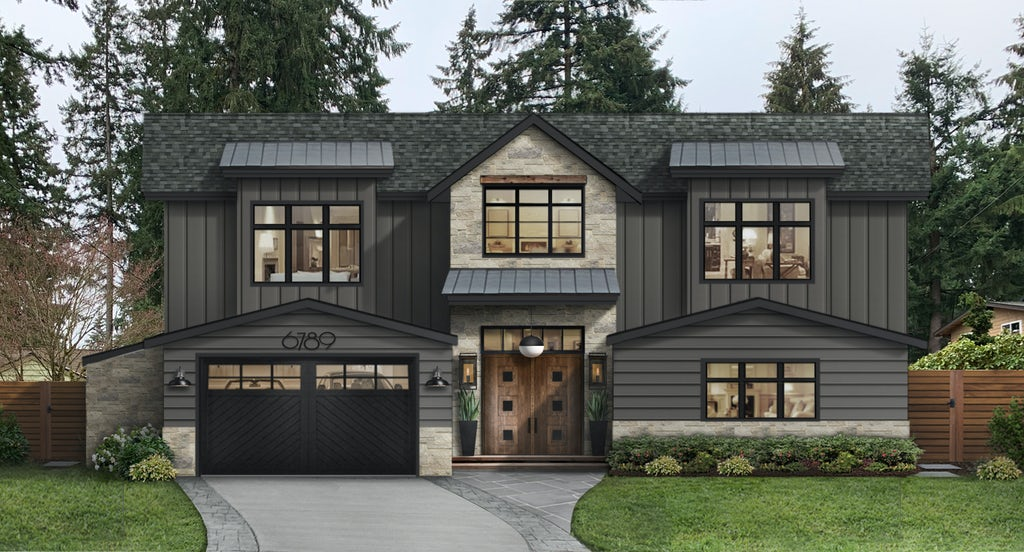 modern two story home painted in iron mountain by benjamin moore