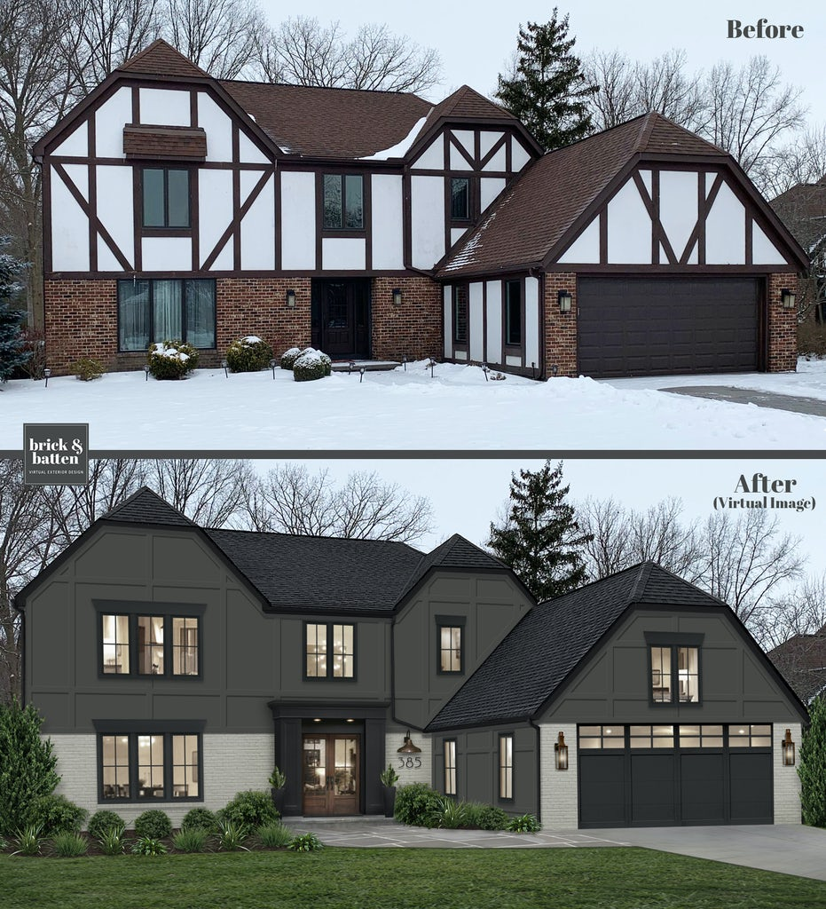 Before and after of a Tudor-style home with painted brick and new siding