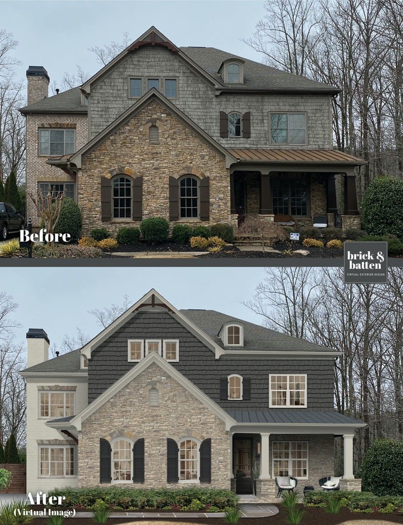 Before and after of a transitional two-story home featuring painted brick, stone, and painted shaker siding