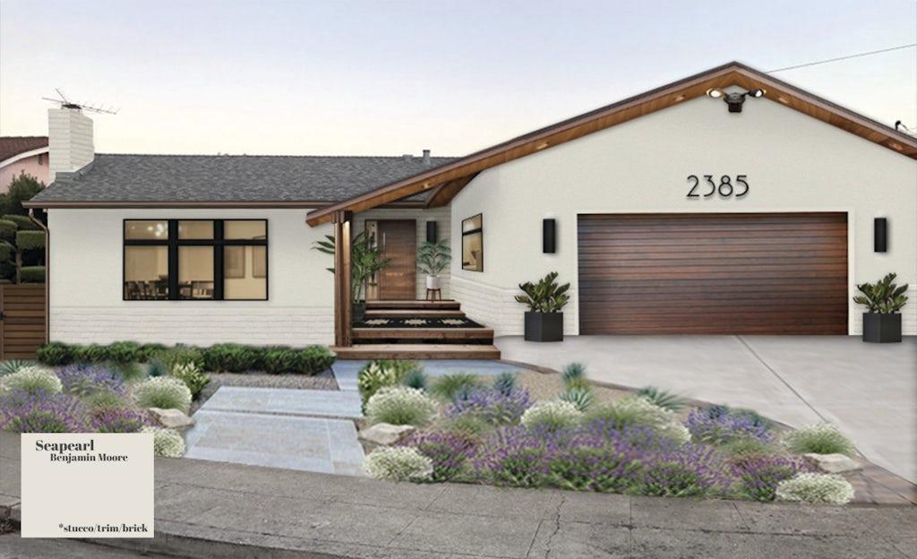 Modern ranch with a modern wooden cladding garage