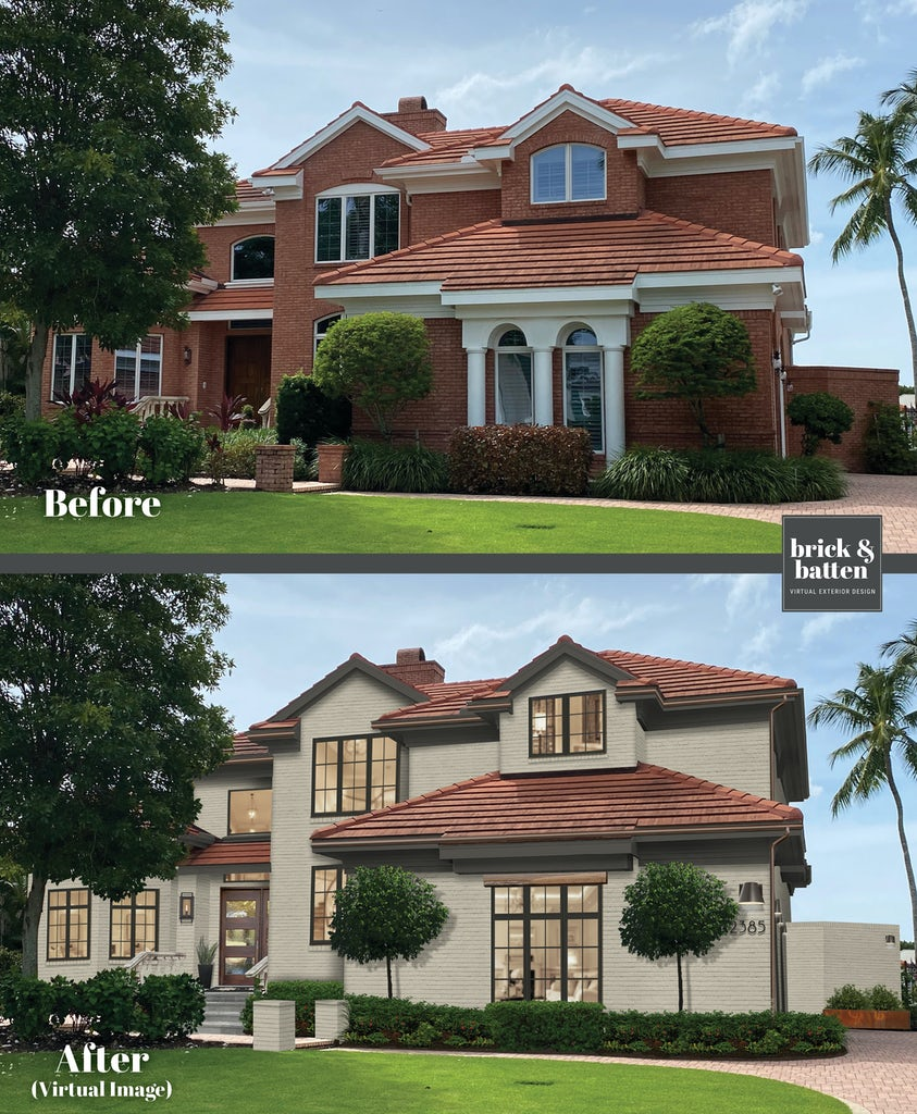 Before and after of home painted grant beige