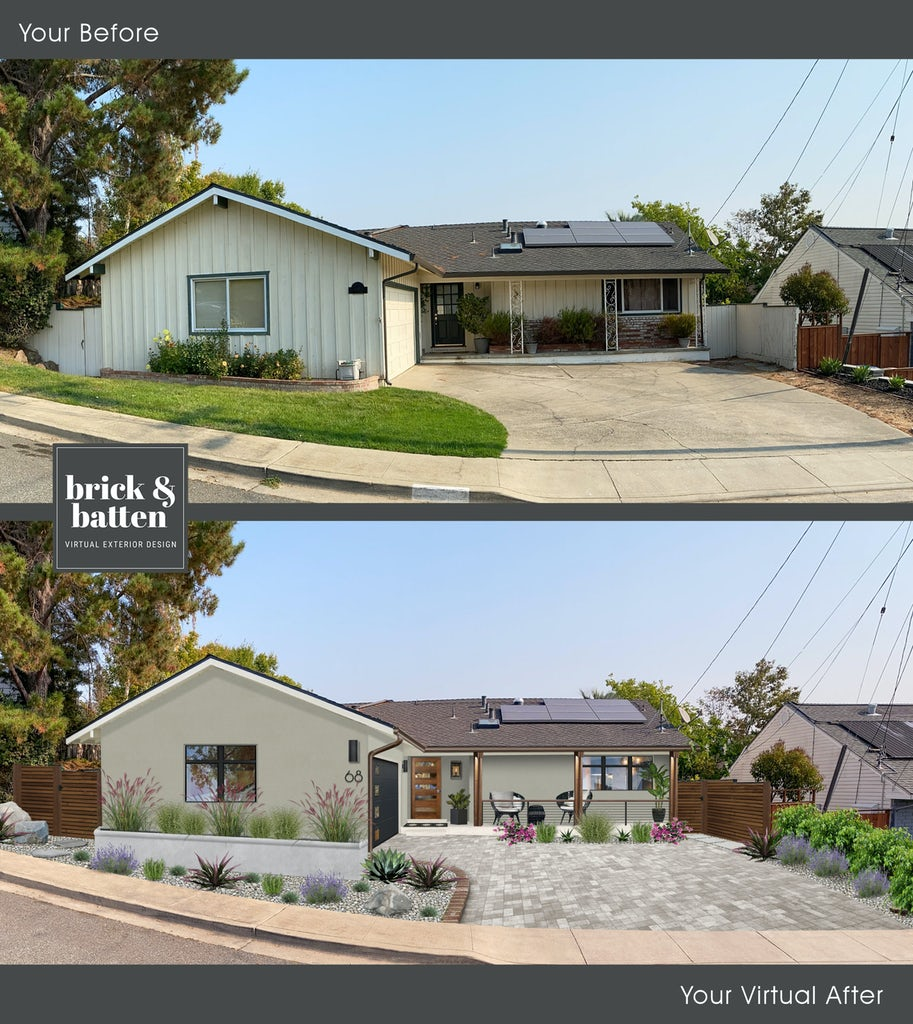 Before and after of home painted with sandy hook gray