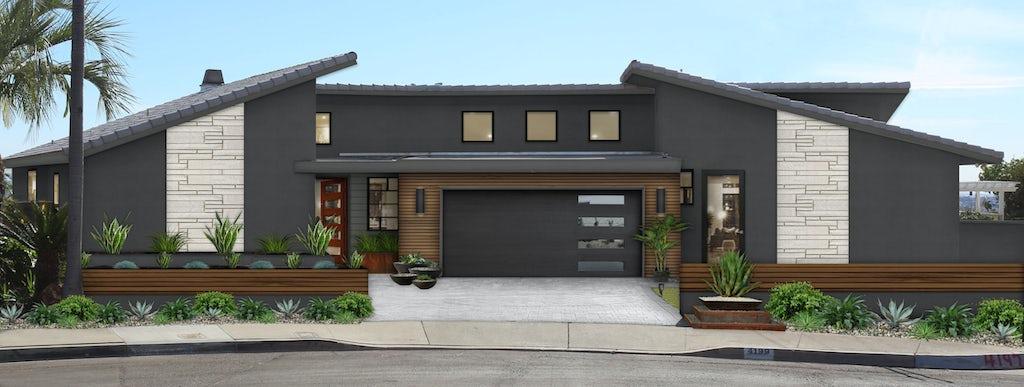 Virtual exterior design of a home with a modern design