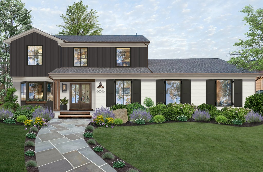 Virtual exterior design of a traditional Colonial home with Seapearl on the main level, shutters and upper level in charcoal gray
