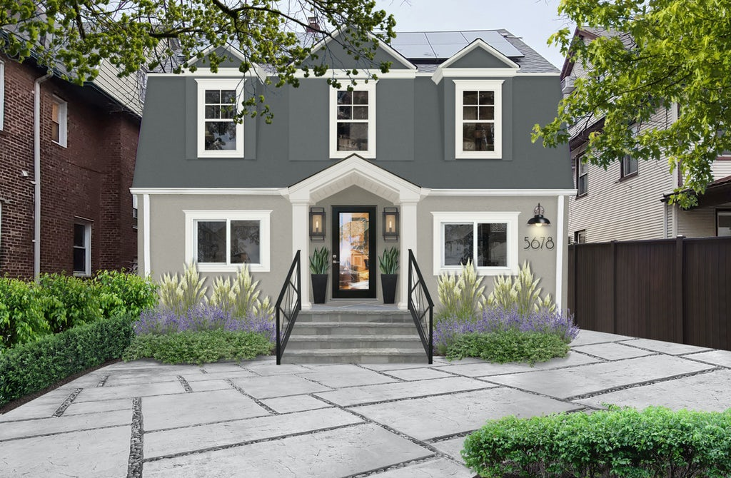 Virtual exterior design of a home painted in grays with Seapearl accents