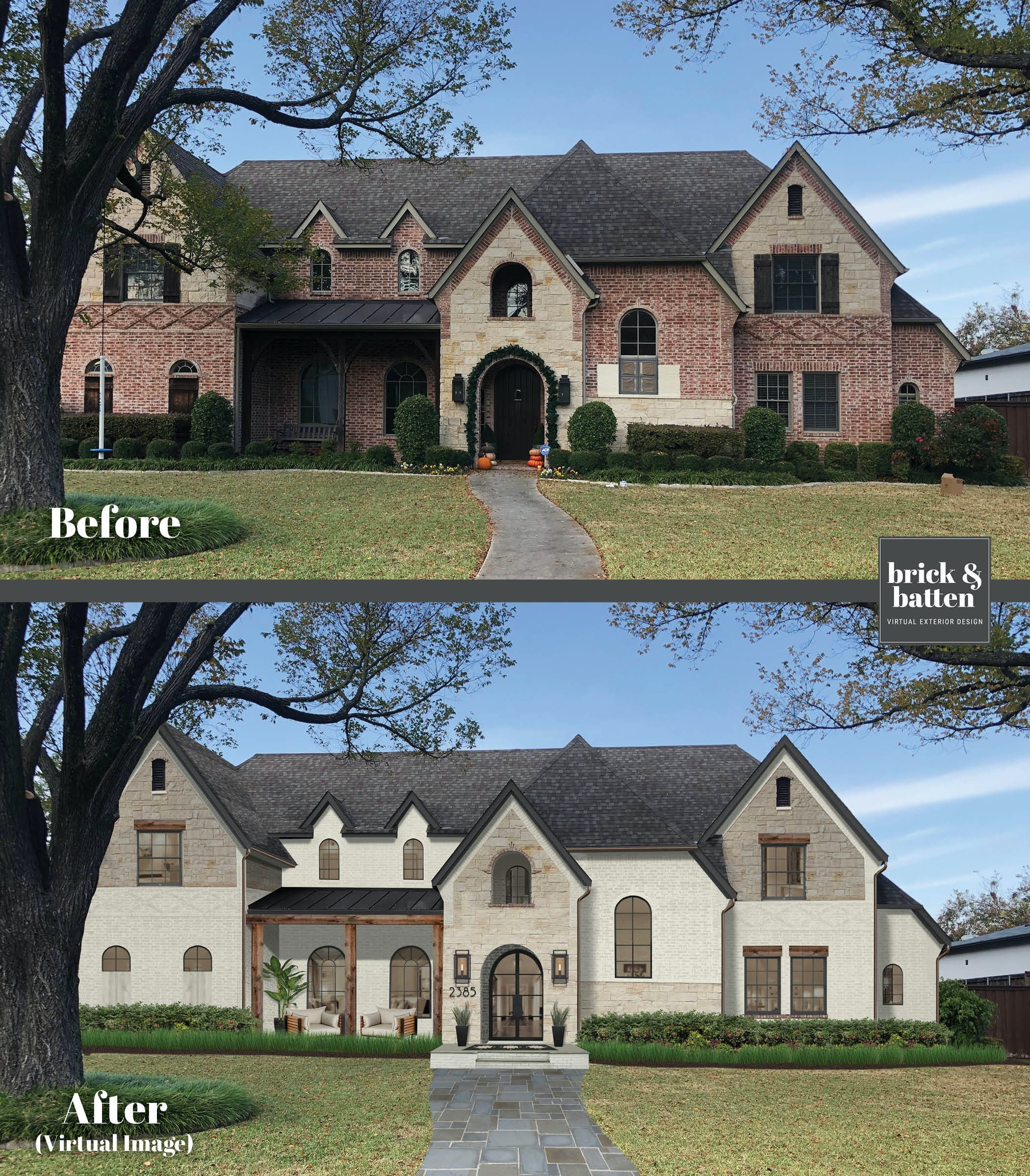 Before and after of a traditional brick home painted with Olympic Mountains