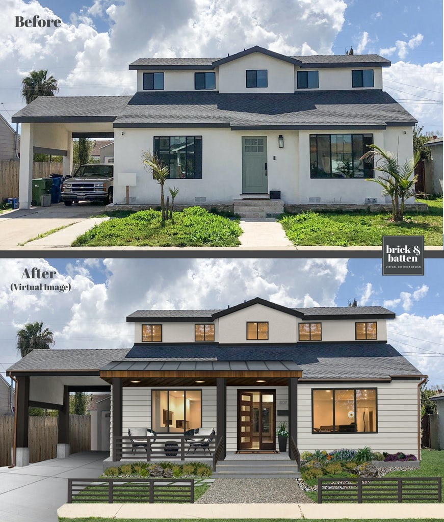 Before and after of a home painted in Repose Gray with a new front porch, wood accents, and a carport