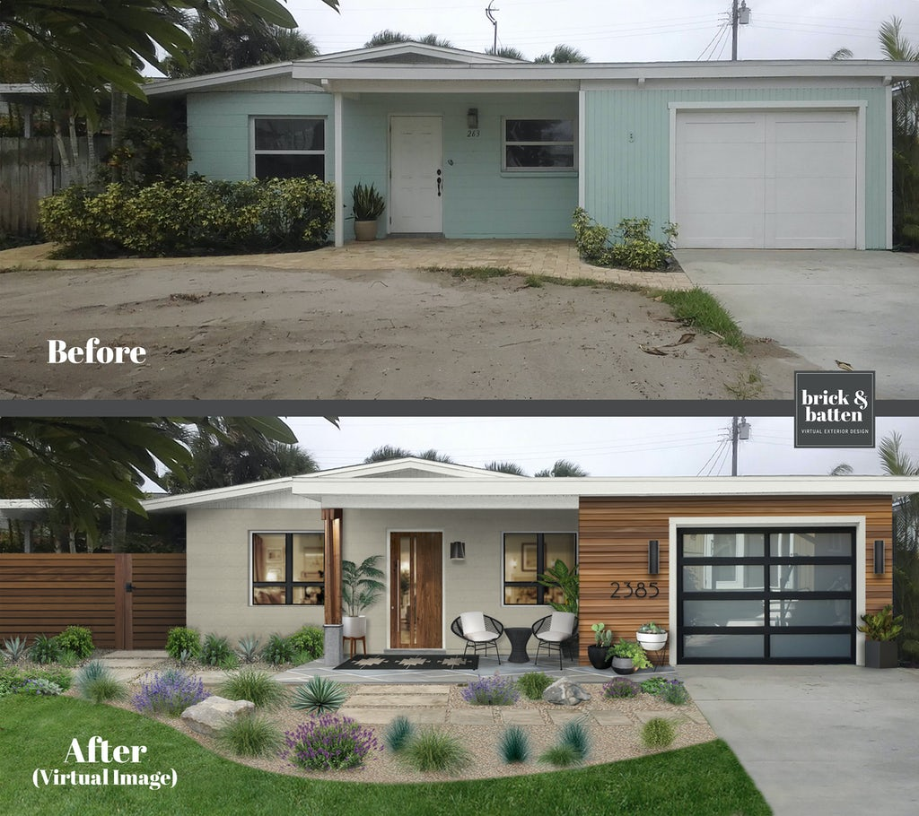 Before and after of a pale blue home painted gray