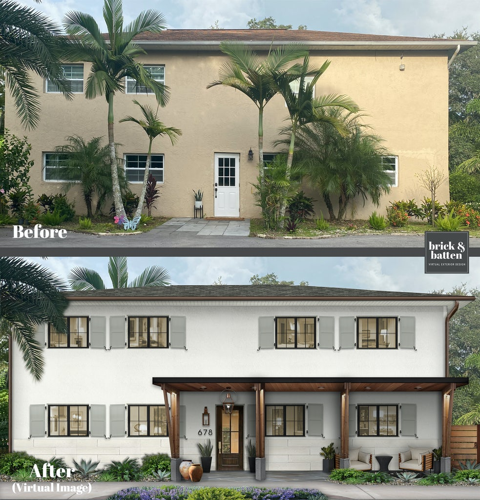 Before and after of a two-story home painted in Simply White with updated shutters and a new awning creating a front porch