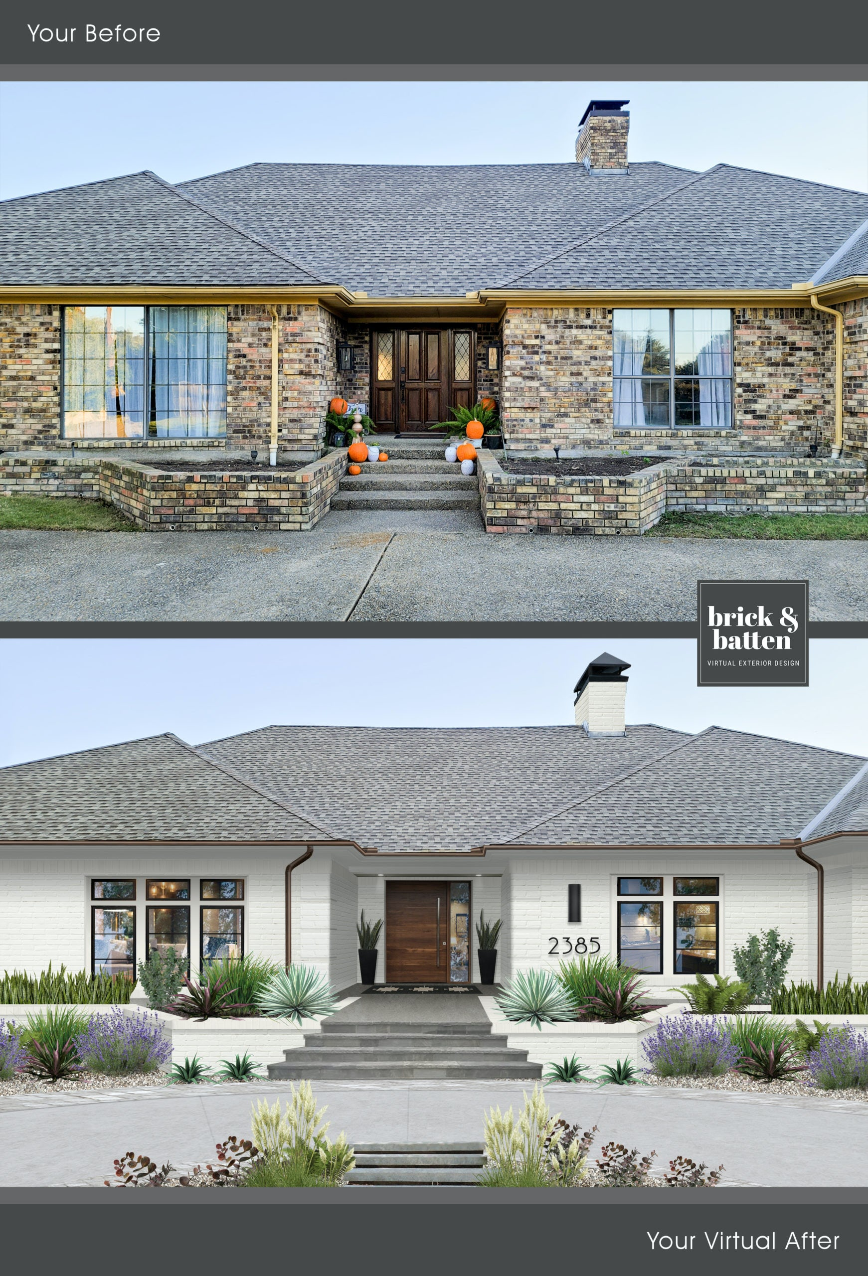 Before and after of a traditional brick home painted in Seapearl with copper gutters