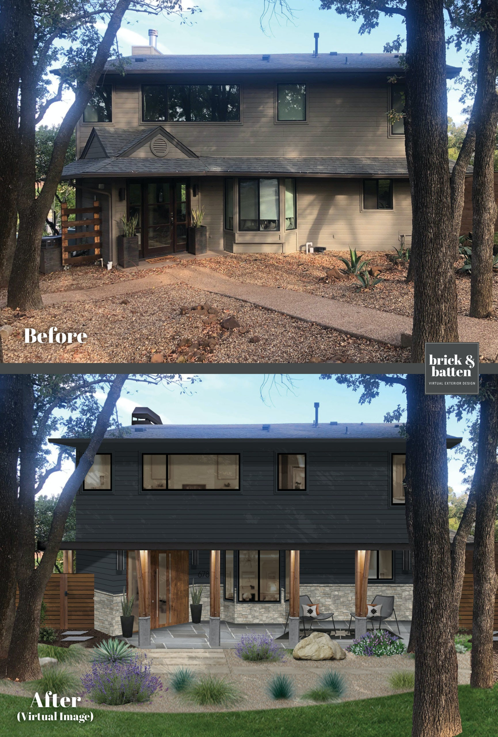 A before and after of a home painted Soot by Benjamin Moore