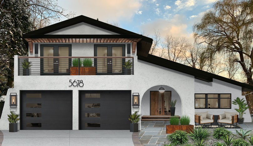 White house with painted black trim