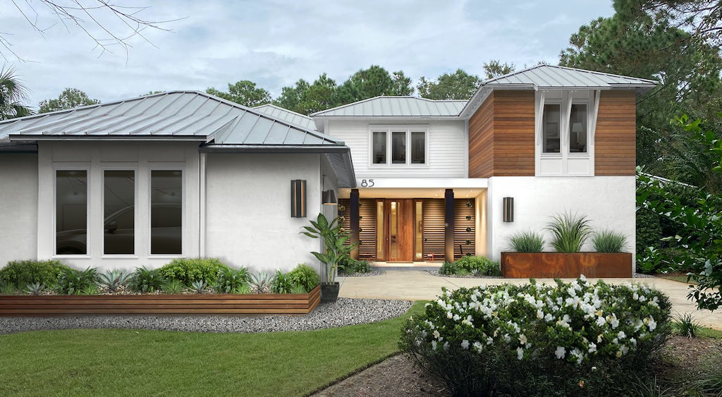 A virtual home design with Sherwin Williams Alabaster paint paired with natural wood