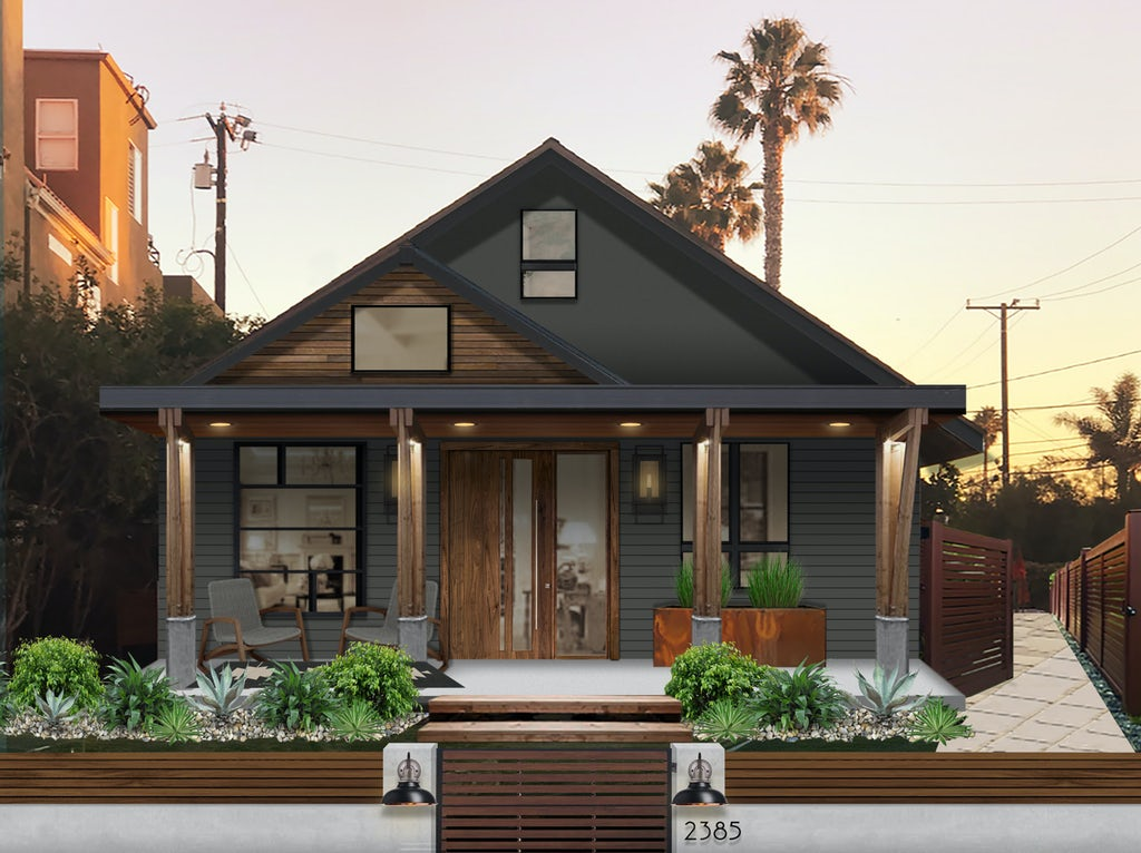 Sherwin Williams Iron Ore exterior paint on a modern California home