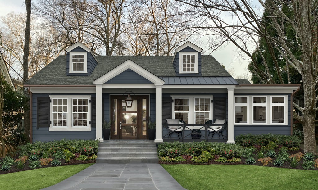 Virtual exterior design of a Cape Code style home painted in Hale Navy