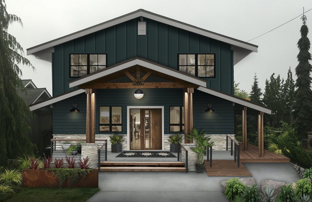 Sherwin Williams Cascade paint color on a rustic mountain lake house in the Pacific Northwest