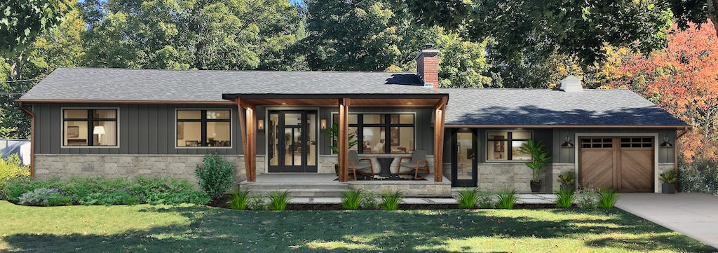 Virtual exterior design of a home with a front porch awning, porch furniture, and great containers for plants