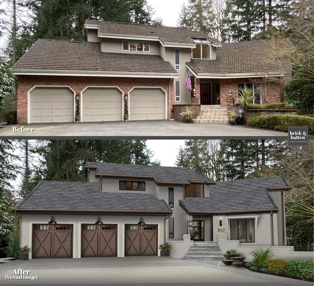 Rustic modern home with three-stall carriage house style garage door with windows