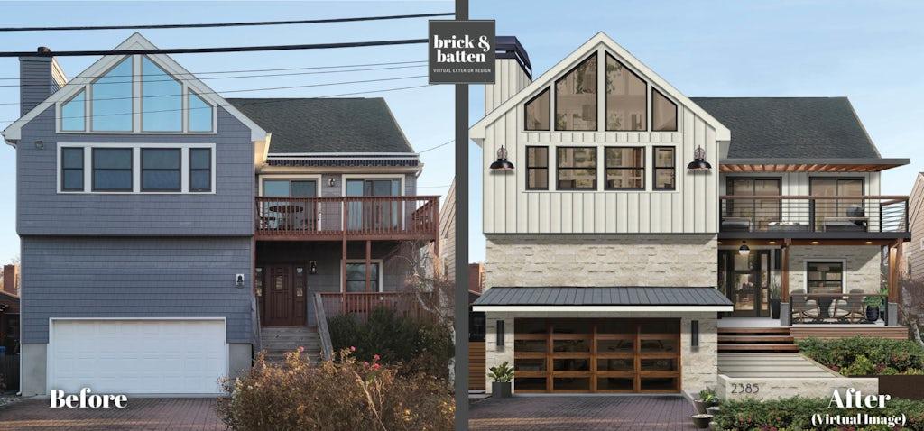 Modern two-story home with modern steel garage door