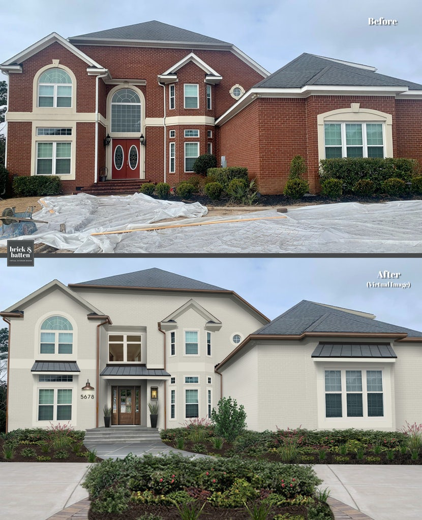 Before and after of a two-story traditional brick home