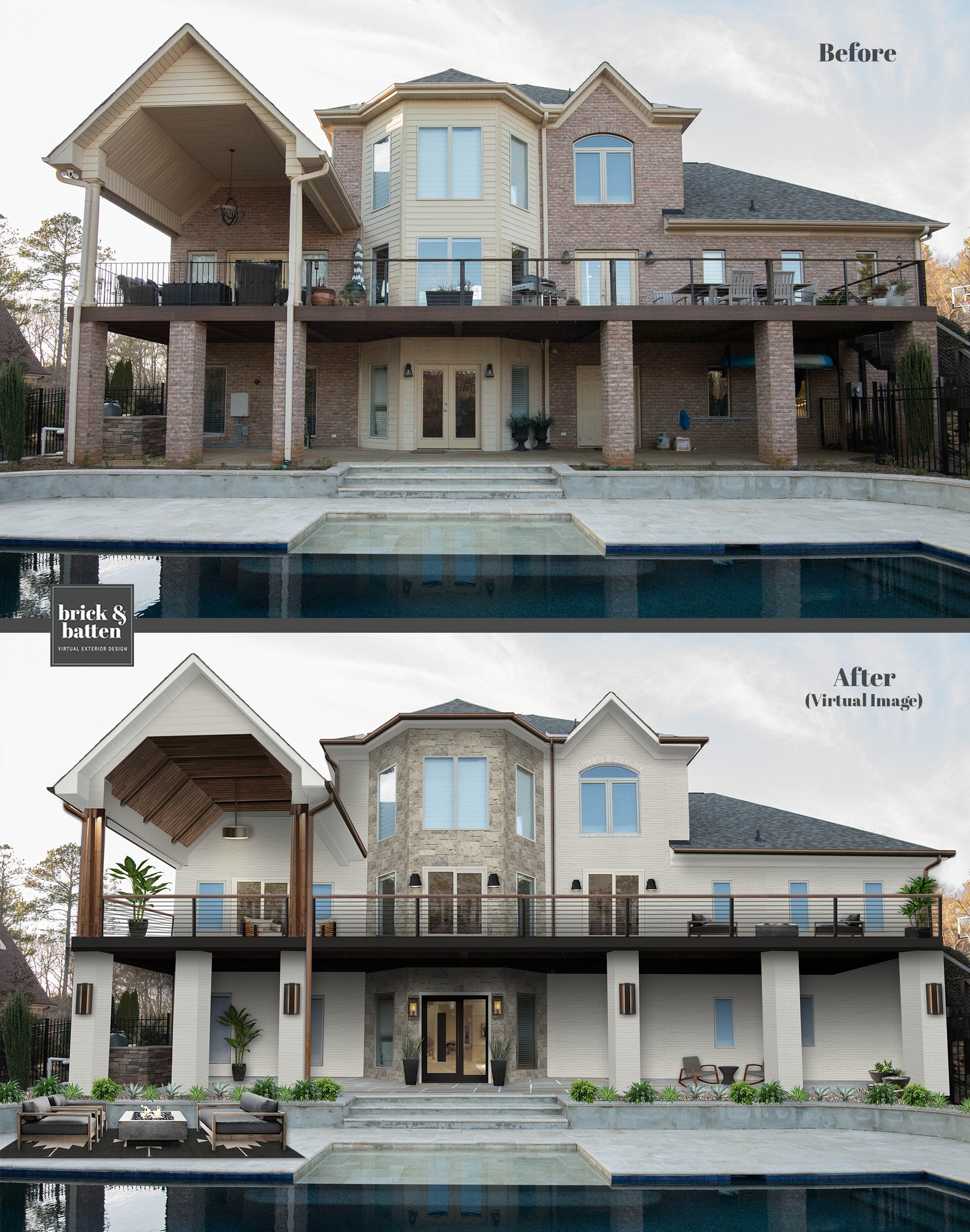 A before and after of a home with modern railing