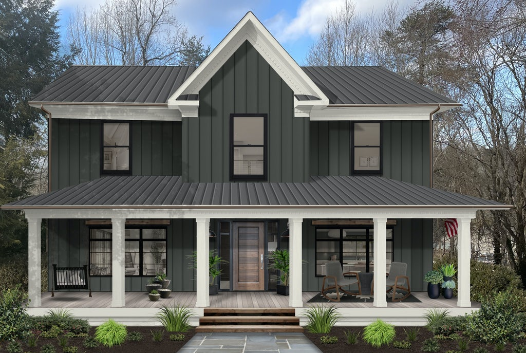 two story traditional home painted in deep river with white large front porch