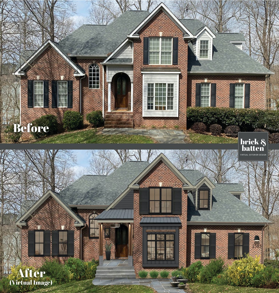 two-story traditional red brick home with black trim and black shutters