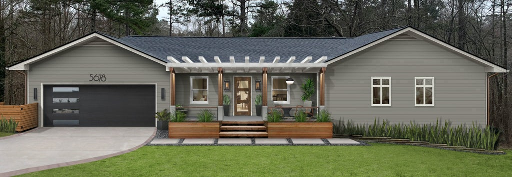 Exterior virtual design of a single-story home with a flat, grassy yard and curved driveway. The home has a covered front porch with wooden accents and is painted with Chelsea Gray by Benjamin Moore.