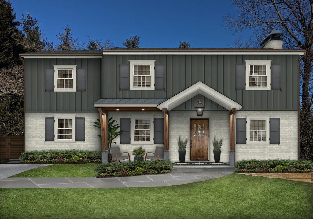 modern traditional colonial home with shutters and columns